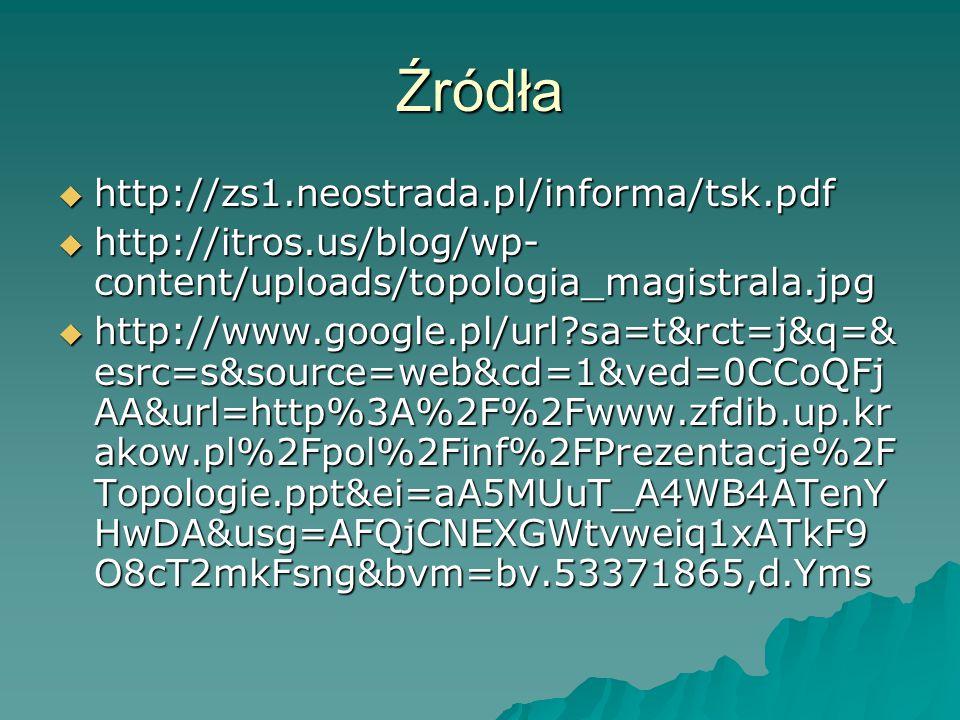 Źródła  http://zs1.neostrada.pl/informa/tsk.pdf  http://itros.us/blog/wp- content/uploads/topologia_magistrala.jpg  http://www.google.pl/url?sa=t&r