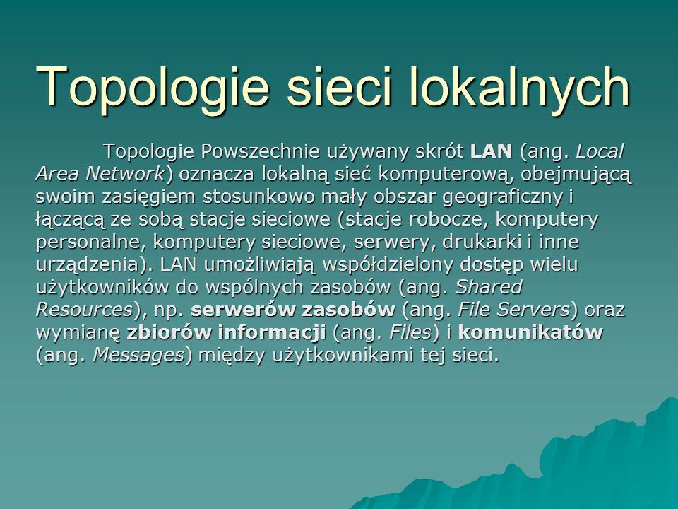 Topologie sieci lokalnych Topologie Powszechnie używany skrót LAN (ang. Local Area Network) oznacza lokalną sieć komputerową, obejmującą swoim zasięgi