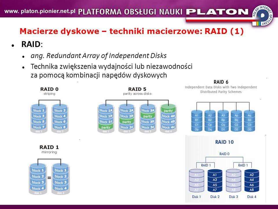 RAID: ang. Redundant Array of Independent Disks Technika zwiększenia wydajności lub niezawodności za pomocą kombinacji napędów dyskowych Macierze dysk