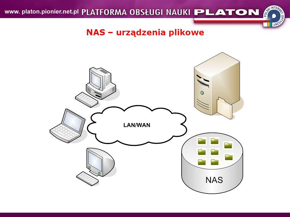 """Stosujemy do współdzielenie zasobów dyskowych: – przystępna cena – zadowalająca wydajność – technologia trafia do domów – ceny od 500 zł Dostęp do zasobów przy użyciu protokołów: – NFS (Network File System) – CIFS (Common Internet File System) – WWW, ftp Realizacja na różne sposoby: – zastosowanie zwykłych serwerów, które pełnią rolę serwerów plików korzystając poprzez SAN ze wspólnych zasobów dyskowych – """"filery z własnymi dyskami, – bramy SAN-NAS korzystające z zewnętrznych macierzy NetApp, BlueArc, OnStor, …… Dostępne rozwiązania dla wysokowydajnych usług plikowych: klastry serwerów NFS  pNFS CXFS  system plików sprzedawany przez SGI  czyli RACKABLE GPFS  system plików sprzedawany przez IBM'a lustre – wysokowydajny klastrowy system plików  sprawdza się dla dużych bloków (blok 1MB)  działająca """"proteza zanim pojawi się pNFS"""