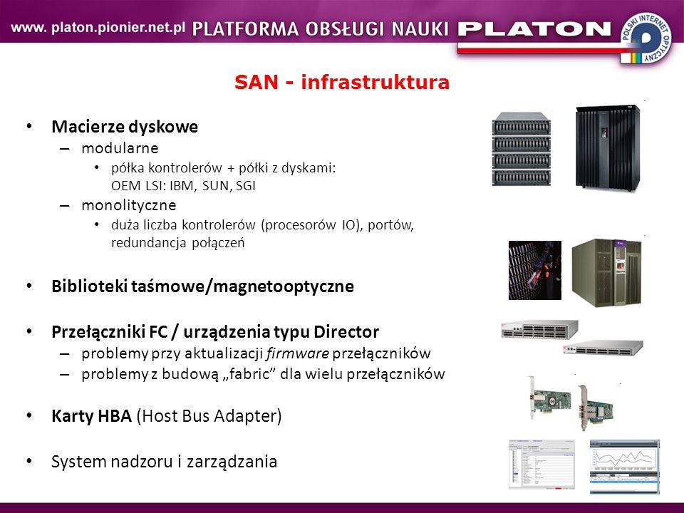 SAN - infrastruktura Macierze dyskowe – modularne półka kontrolerów + półki z dyskami: OEM LSI: IBM, SUN, SGI – monolityczne duża liczba kontrolerów (