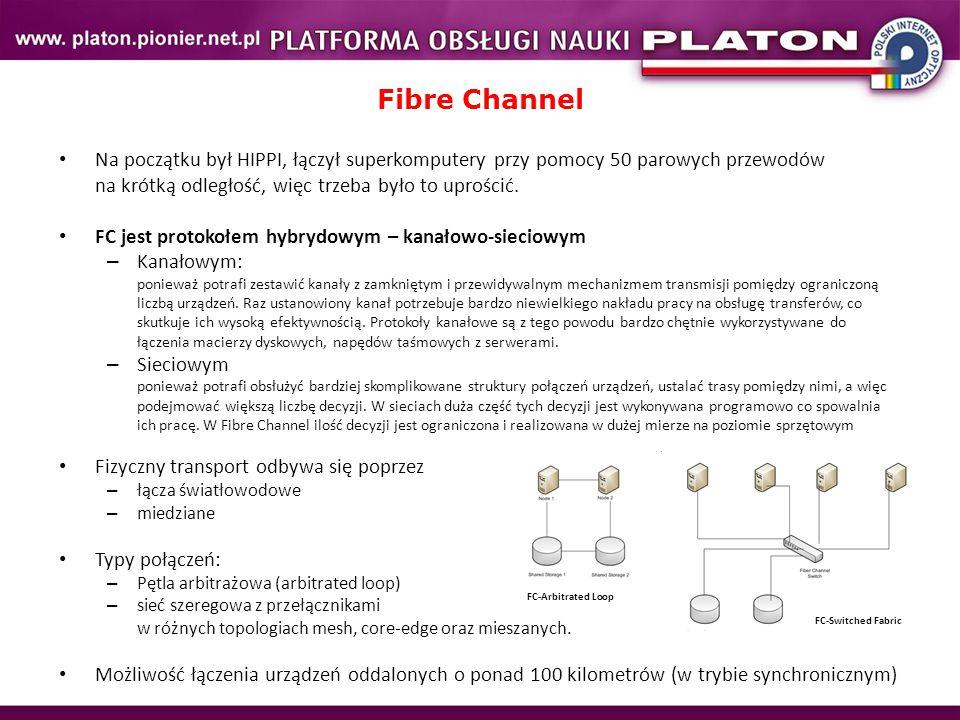 Fibre Channel Na początku był HIPPI, łączył superkomputery przy pomocy 50 parowych przewodów na krótką odległość, więc trzeba było to uprościć. FC jes
