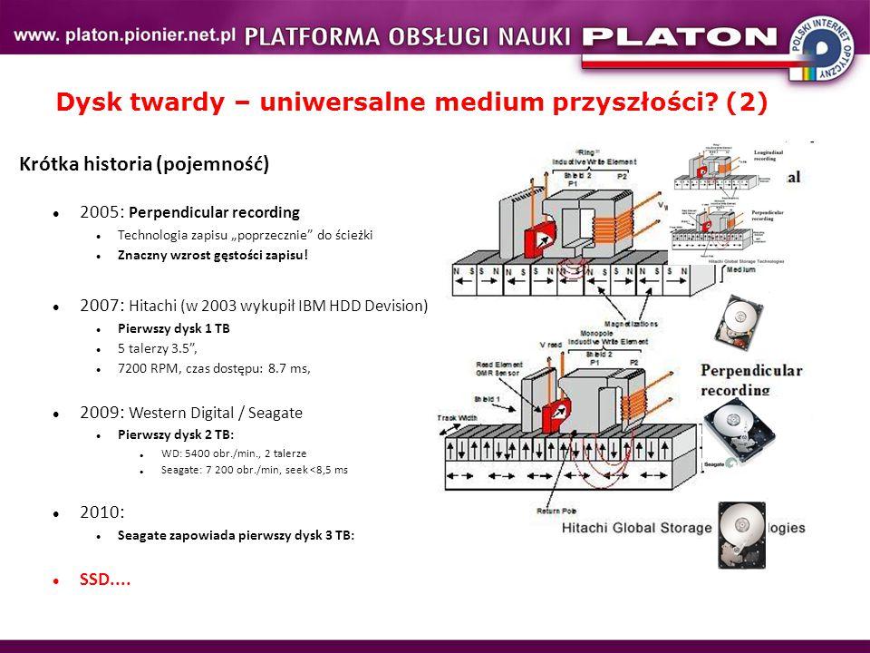 """Dysk twardy – uniwersalne medium przyszłości? (2) Krótka historia (pojemność) 2005: Perpendicular recording Technologia zapisu """"poprzecznie"""" do ścieżk"""