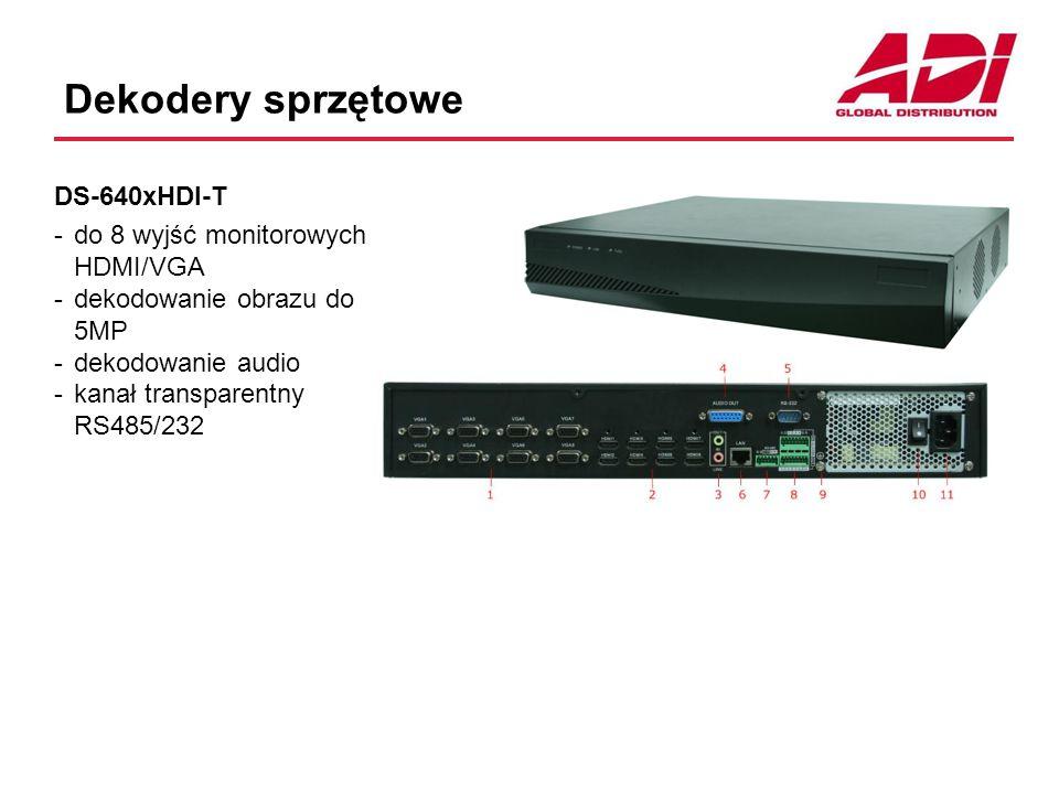 Dekodery sprzętowe DS-640xHDI-T -do 8 wyjść monitorowych HDMI/VGA -dekodowanie obrazu do 5MP -dekodowanie audio -kanał transparentny RS485/232