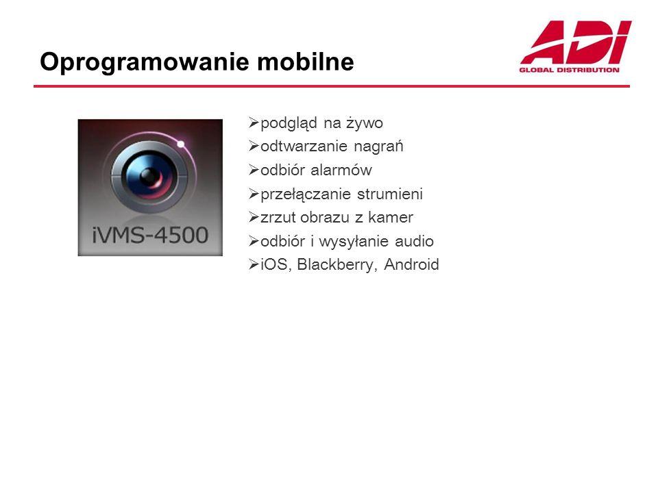 Oprogramowanie mobilne  podgląd na żywo  odtwarzanie nagra ń  odbiór alarmów  przełączanie strumieni  zrzut obrazu z kamer  odbiór i wysyłanie audio  iOS, Blackberry, Android