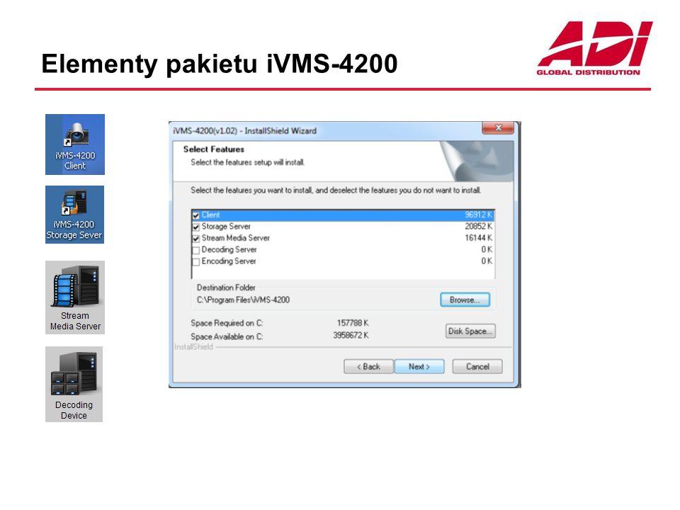 iVMS-4200 Client Interfejs klienta Wyświetlanie kamer Sterowanie kamer Segregacja kamer Gromadzenie informacji alarmowych Zdalne konfiguracja kamer i rejestratorów Obsługa ściany monitorowej Obsługa map graficznych