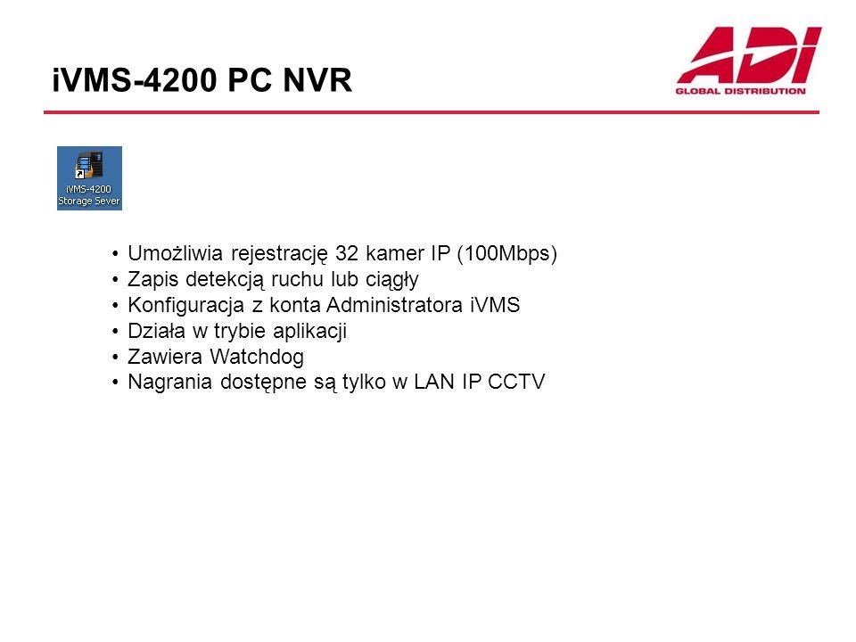 iVMS-4200 PC NVR Umożliwia rejestrację 32 kamer IP (100Mbps) Zapis detekcją ruchu lub ciągły Konfiguracja z konta Administratora iVMS Działa w trybie aplikacji Zawiera Watchdog Nagrania dostępne są tylko w LAN IP CCTV