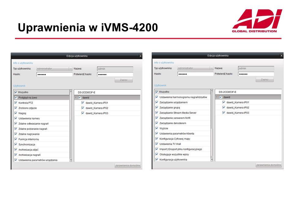 TV Wall - ściana monitorów Umożliwia budowę ściany monitorów Każdy monitor może wyświetlać kamery pełnokranowo lub w podziale Działa w oparciu o dekodery sprzętowe DS-63xxDI lub DS-64xxDI Operatorzy sterują wyświetlaniem na monitorach dekoderów Monitory są współdzielone przez użytkowników stacji klienckich iVMS-4200