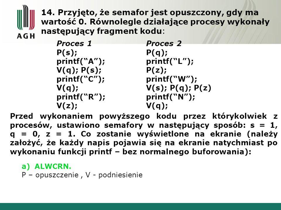 """14. Przyjęto, że semafor jest opuszczony, gdy ma wartość 0. Równolegle działające procesy wykonały następujący fragment kodu: Proces 1 P(s); printf(""""A"""