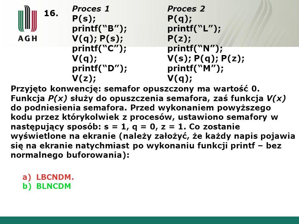 """16. Proces 1 P(s); printf(""""B""""); V(q); P(s); printf(""""C""""); V(q); printf(""""D""""); V(z); Proces 2 P(q); printf(""""L""""); P(z); printf(""""N""""); V(s); P(q); P(z); pri"""