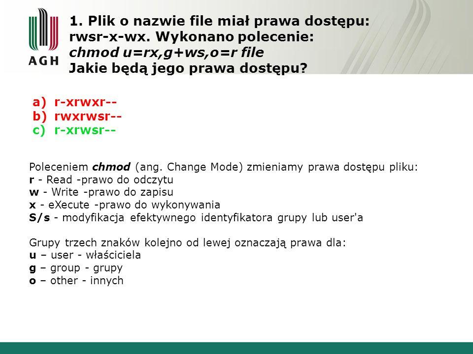 1. Plik o nazwie file miał prawa dostępu: rwsr-x-wx.
