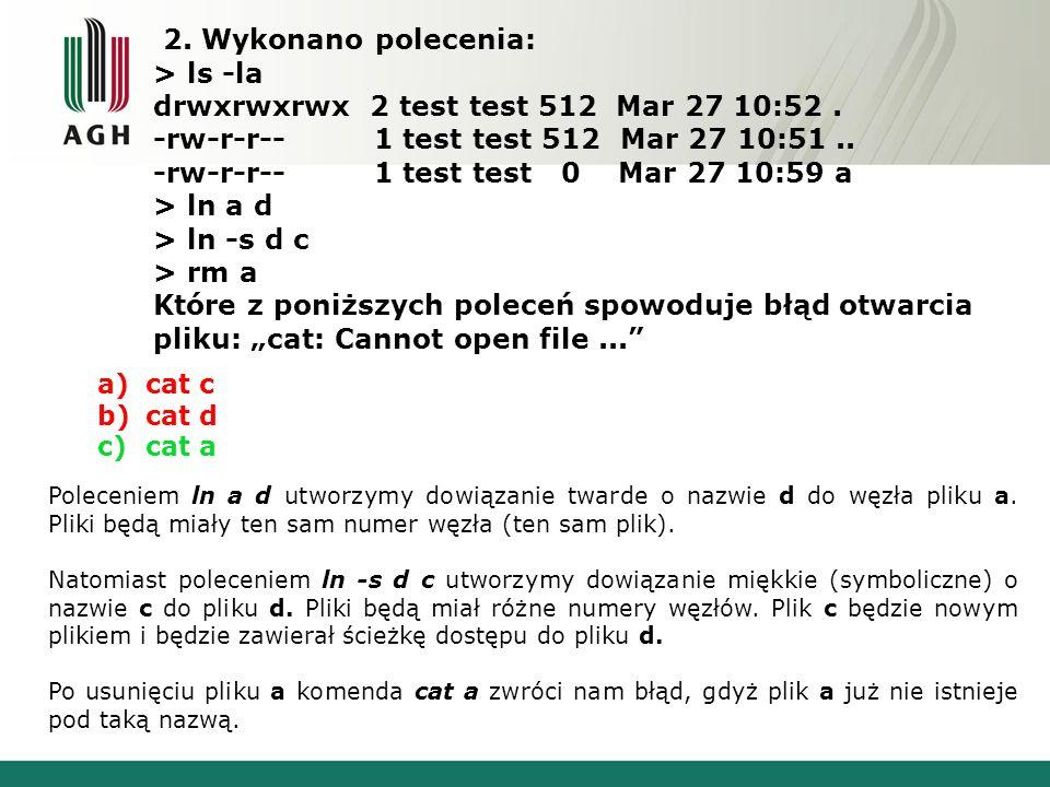 2. Wykonano polecenia: > ls -la drwxrwxrwx 2 test test 512 Mar 27 10:52. -rw-r-r-- 1 test test 512 Mar 27 10:51.. -rw-r-r-- 1 test test 0 Mar 27 10:59