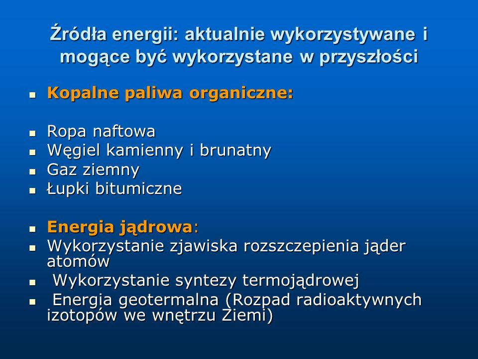 Źródła energii: aktualnie wykorzystywane i mogące być wykorzystane w przyszłości Kopalne paliwa organiczne: Kopalne paliwa organiczne: Ropa naftowa Ropa naftowa Węgiel kamienny i brunatny Węgiel kamienny i brunatny Gaz ziemny Gaz ziemny Łupki bitumiczne Łupki bitumiczne Energia jądrowa: Energia jądrowa: Wykorzystanie zjawiska rozszczepienia jąder atomów Wykorzystanie zjawiska rozszczepienia jąder atomów Wykorzystanie syntezy termojądrowej Wykorzystanie syntezy termojądrowej Energia geotermalna (Rozpad radioaktywnych izotopów we wnętrzu Ziemi) Energia geotermalna (Rozpad radioaktywnych izotopów we wnętrzu Ziemi)