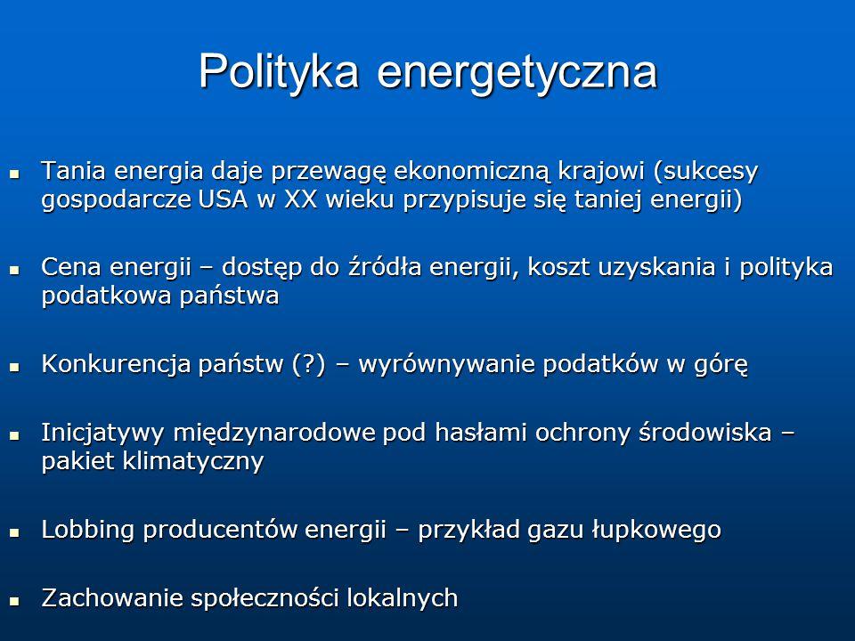Polityka energetyczna Tania energia daje przewagę ekonomiczną krajowi (sukcesy gospodarcze USA w XX wieku przypisuje się taniej energii) Tania energia daje przewagę ekonomiczną krajowi (sukcesy gospodarcze USA w XX wieku przypisuje się taniej energii) Cena energii – dostęp do źródła energii, koszt uzyskania i polityka podatkowa państwa Cena energii – dostęp do źródła energii, koszt uzyskania i polityka podatkowa państwa Konkurencja państw (?) – wyrównywanie podatków w górę Konkurencja państw (?) – wyrównywanie podatków w górę Inicjatywy międzynarodowe pod hasłami ochrony środowiska – pakiet klimatyczny Inicjatywy międzynarodowe pod hasłami ochrony środowiska – pakiet klimatyczny Lobbing producentów energii – przykład gazu łupkowego Lobbing producentów energii – przykład gazu łupkowego Zachowanie społeczności lokalnych Zachowanie społeczności lokalnych