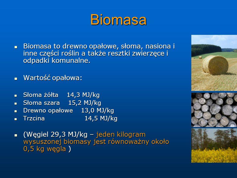Biomasa Biomasa to drewno opałowe, słoma, nasiona i inne części roślin a także resztki zwierzęce i odpadki komunalne.