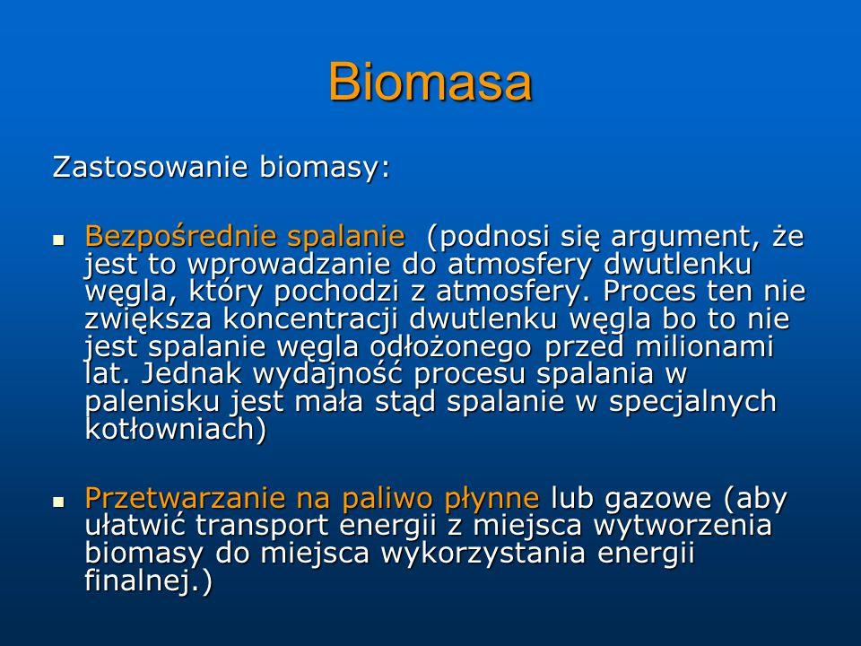 Biomasa Zastosowanie biomasy: Bezpośrednie spalanie (podnosi się argument, że jest to wprowadzanie do atmosfery dwutlenku węgla, który pochodzi z atmosfery.