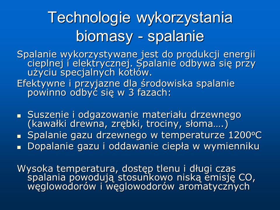 Technologie wykorzystania biomasy - spalanie Spalanie wykorzystywane jest do produkcji energii cieplnej i elektrycznej.