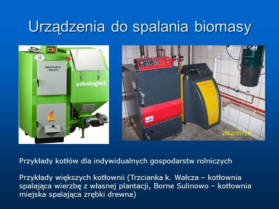 Urządzenia do spalania biomasy Przykłady kotłów dla indywidualnych gospodarstw rolniczych Przykłady większych kotłownii (Trzcianka k.