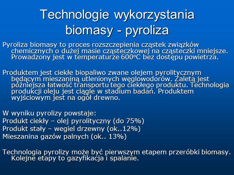 Technologie wykorzystania biomasy - pyroliza Pyroliza biomasy to proces rozszczepienia cząstek związków chemicznych o dużej masie cząsteczkowej na cząsteczki mniejsze.