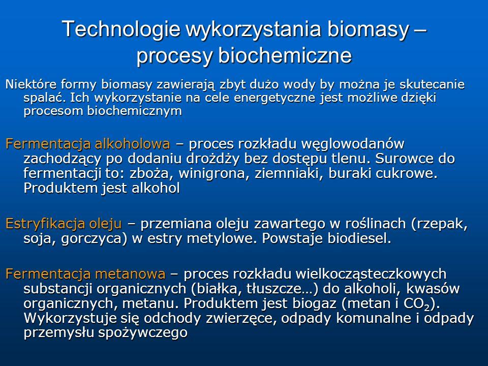 Technologie wykorzystania biomasy – procesy biochemiczne Niektóre formy biomasy zawierają zbyt dużo wody by można je skutecanie spalać.