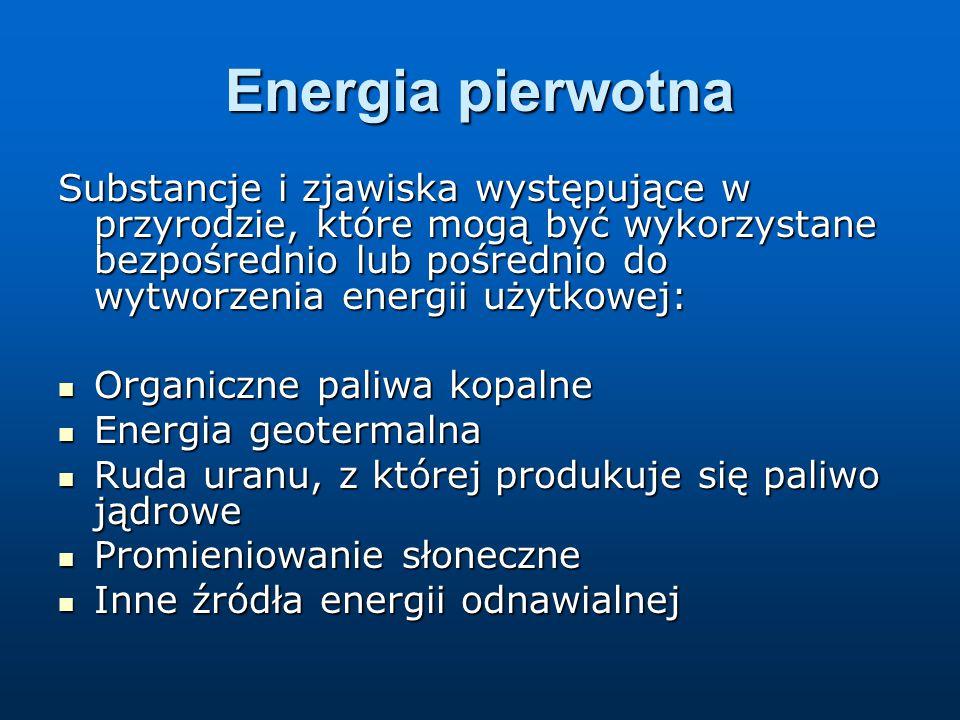 Energia pierwotna Substancje i zjawiska występujące w przyrodzie, które mogą być wykorzystane bezpośrednio lub pośrednio do wytworzenia energii użytkowej: Organiczne paliwa kopalne Organiczne paliwa kopalne Energia geotermalna Energia geotermalna Ruda uranu, z której produkuje się paliwo jądrowe Ruda uranu, z której produkuje się paliwo jądrowe Promieniowanie słoneczne Promieniowanie słoneczne Inne źródła energii odnawialnej Inne źródła energii odnawialnej