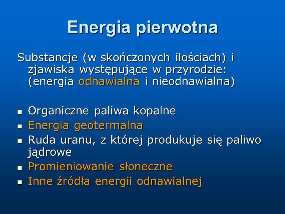 Energia pierwotna Substancje (w skończonych ilościach) i zjawiska występujące w przyrodzie: (energia odnawialna i nieodnawialna) Organiczne paliwa kopalne Organiczne paliwa kopalne Energia geotermalna Energia geotermalna Ruda uranu, z której produkuje się paliwo jądrowe Ruda uranu, z której produkuje się paliwo jądrowe Promieniowanie słoneczne Promieniowanie słoneczne Inne źródła energii odnawialnej Inne źródła energii odnawialnej