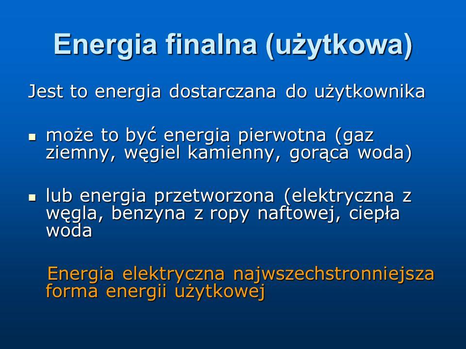 Energia finalna (użytkowa) Jest to energia dostarczana do użytkownika może to być energia pierwotna (gaz ziemny, węgiel kamienny, gorąca woda) może to być energia pierwotna (gaz ziemny, węgiel kamienny, gorąca woda) lub energia przetworzona (elektryczna z węgla, benzyna z ropy naftowej, ciepła woda lub energia przetworzona (elektryczna z węgla, benzyna z ropy naftowej, ciepła woda Energia elektryczna najwszechstronniejsza forma energii użytkowej Energia elektryczna najwszechstronniejsza forma energii użytkowej