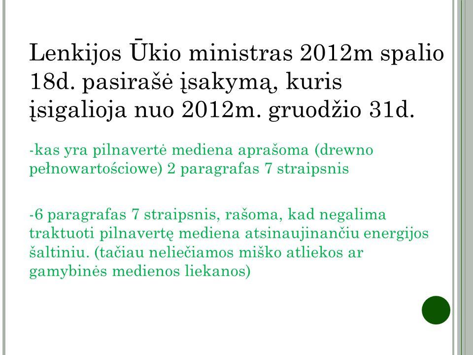 Lenkijos Ūkio ministras 2012m spalio 18d. pasirašė įsakymą, kuris įsigalioja nuo 2012m. gruodžio 31d. -kas yra pilnavertė mediena aprašoma (drewno peł