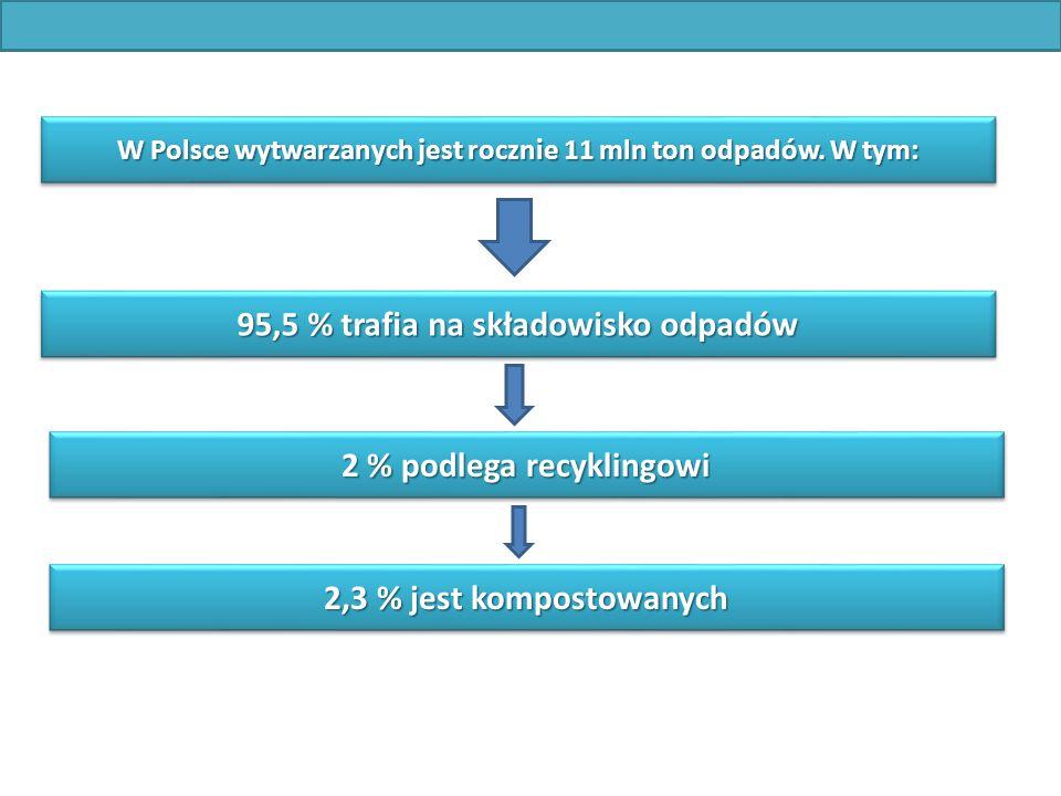 W Polsce wytwarzanych jest rocznie 11 mln ton odpadów. W tym: 95,5 % trafia na składowisko odpadów 2 % podlega recyklingowi 2,3 % jest kompostowanych