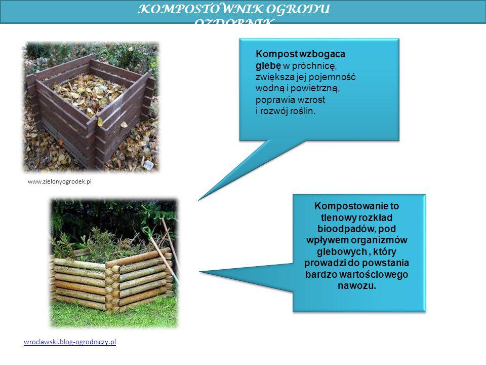 KOMPOSTOWNIK OGRODU OZDOBNIK Kompostowanie to tlenowy rozkład bioodpadów, pod wpływem organizmów glebowych, który prowadzi do powstania bardzo wartośc
