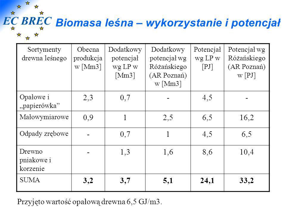 Biomasa leśna – wykorzystanie i potencjał Sortymenty drewna leśnego Obecna produkcja w [Mm3] Dodatkowy potencjał wg LP w [Mm3] Dodatkowy potencjał wg