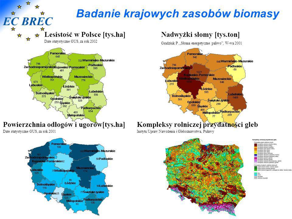 """Badanie krajowych zasobów biomasy Nadwyżki słomy [tys.ton] Gradziuk P. """"Słoma energetyczne paliwo"""", W-wa 2001 Lesistość w Polsce [tys.ha] Date statyst"""