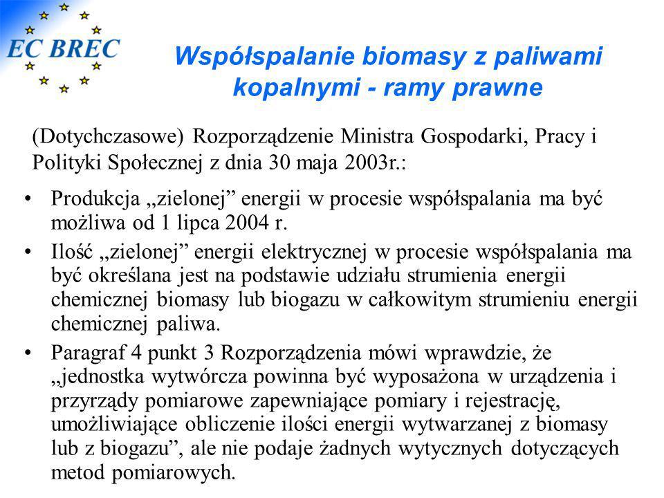 """Współspalanie biomasy z paliwami kopalnymi - ramy prawne Produkcja """"zielonej"""" energii w procesie współspalania ma być możliwa od 1 lipca 2004 r. Ilość"""
