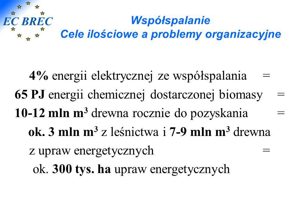 Współspalanie Cele ilościowe a problemy organizacyjne 4% energii elektrycznej ze współspalania = 65 PJ energii chemicznej dostarczonej biomasy= 10-12