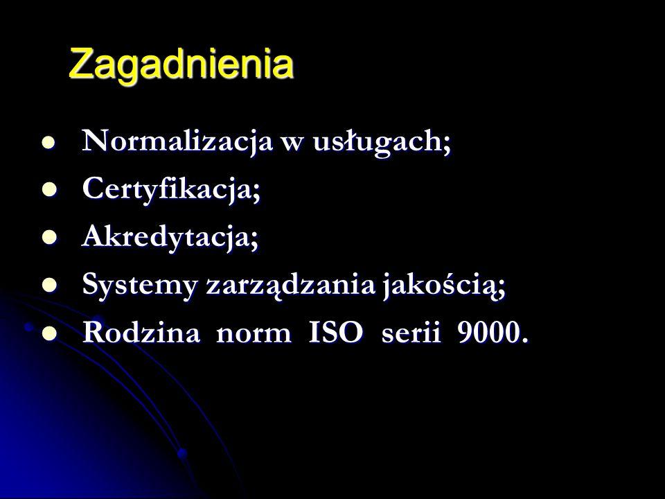 Zagadnienia Normalizacja w usługach; Normalizacja w usługach; Certyfikacja; Certyfikacja; Akredytacja; Akredytacja; Systemy zarządzania jakością; Systemy zarządzania jakością; Rodzina norm ISO serii 9000.