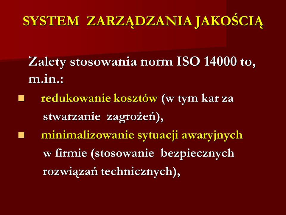 SYSTEM ZARZĄDZANIA JAKOŚCIĄ Zalety stosowania norm ISO 14000 to, m.in.: redukowanie kosztów (w tym kar za redukowanie kosztów (w tym kar za stwarzanie zagrożeń), stwarzanie zagrożeń), minimalizowanie sytuacji awaryjnych minimalizowanie sytuacji awaryjnych w firmie (stosowanie bezpiecznych w firmie (stosowanie bezpiecznych rozwiązań technicznych), rozwiązań technicznych),