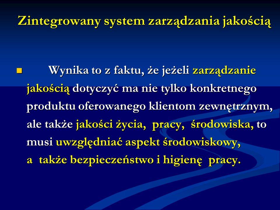 Zintegrowany system zarządzania jakością Wynika to z faktu, że jeżeli zarządzanie Wynika to z faktu, że jeżeli zarządzanie jakością dotyczyć ma nie tylko konkretnego produktu oferowanego klientom zewnętrznym, ale także jakości życia, pracy, środowiska, to musi uwzględniać aspekt środowiskowy, a także bezpieczeństwo i higienę pracy.