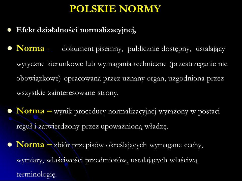 POLSKIE NORMY Efekt działalności normalizacyjnej, Norma - dokument pisemny, publicznie dostępny, ustalający wytyczne kierunkowe lub wymagania techniczne (przestrzeganie nie obowiązkowe) opracowana przez uznany organ, uzgodniona przez wszystkie zainteresowane strony.