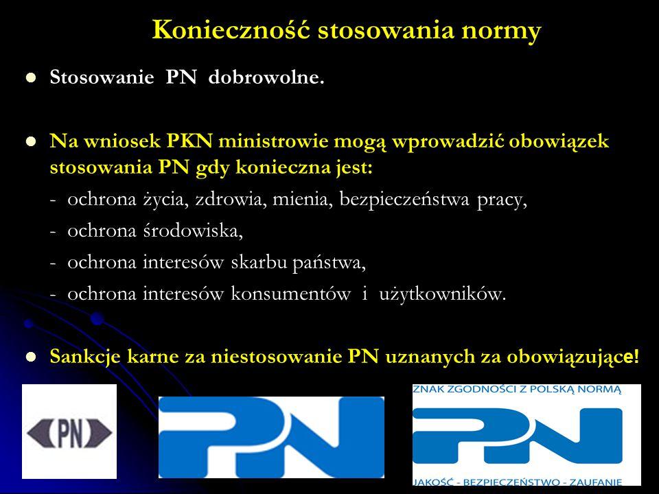Konieczność stosowania normy Stosowanie PN dobrowolne.