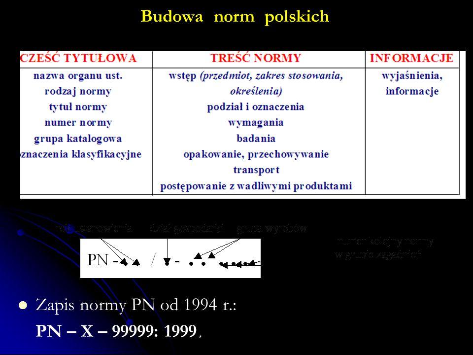 Budowa norm polskich Zapis normy PN od 1994 r.:. PN – X – 99999: 1999.