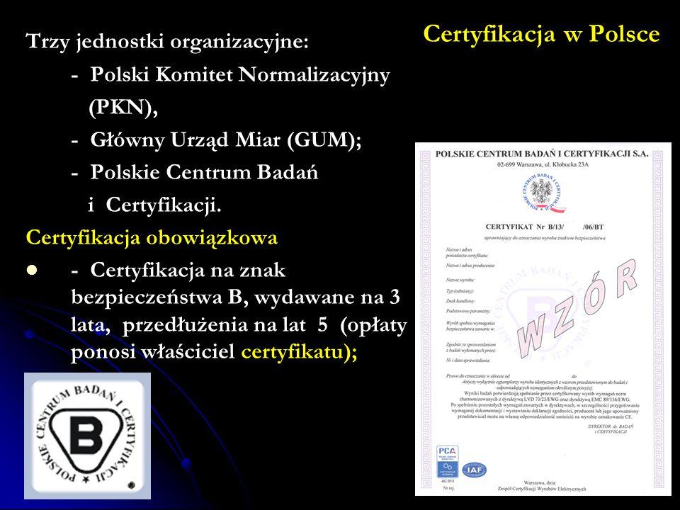 Certyfikacja w Polsce Trzy jednostki organizacyjne: - Polski Komitet Normalizacyjny (PKN), - Główny Urząd Miar (GUM); - Polskie Centrum Badań i Certyfikacji.
