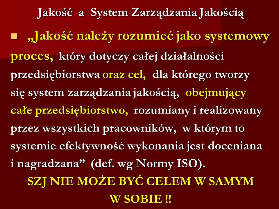 """Jakość a System Zarządzania Jakością Jakość a System Zarządzania Jakością """"Jakość należy rozumieć jako systemowy """"Jakość należy rozumieć jako systemow"""