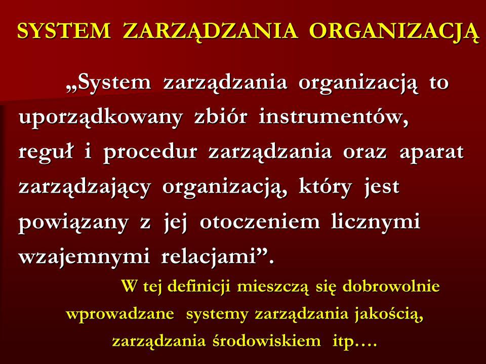 """SYSTEM ZARZĄDZANIA ORGANIZACJĄ """" System zarządzania organizacją to """" System zarządzania organizacją to uporządkowany zbiór instrumentów, reguł i procedur zarządzania oraz aparat zarządzający organizacją, który jest powiązany z jej otoczeniem licznymi wzajemnymi relacjami ."""
