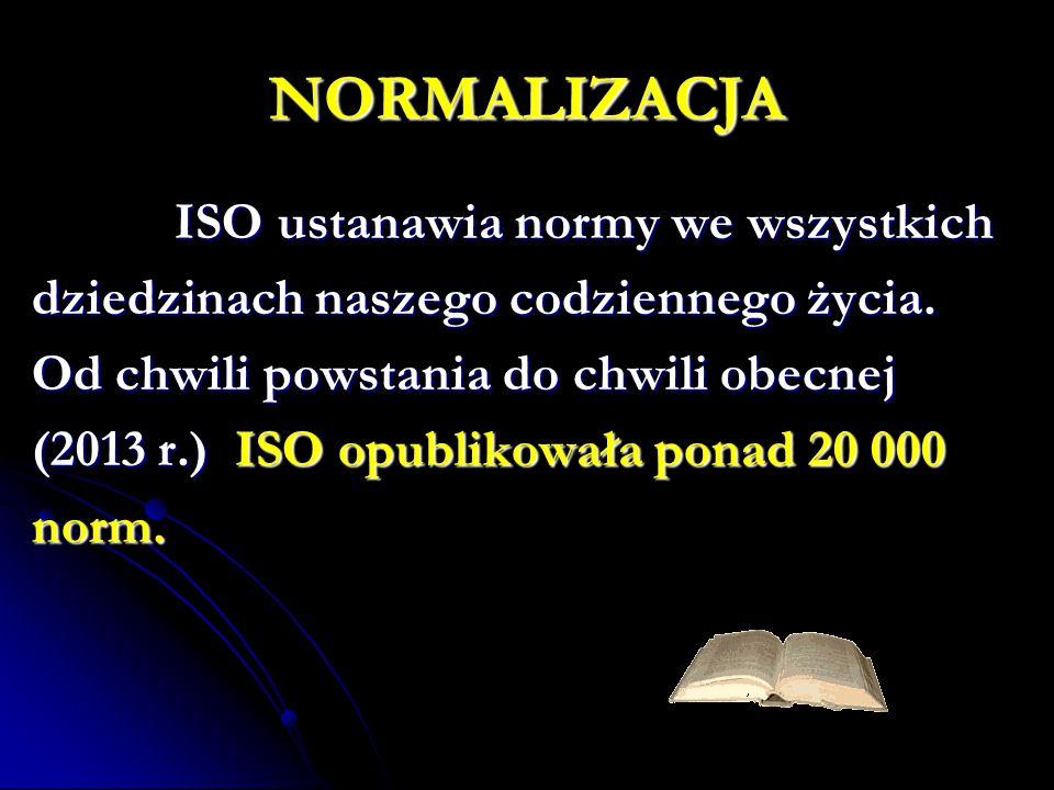 NORMALIZACJA ISO ustanawia normy we wszystkich ISO ustanawia normy we wszystkich dziedzinach naszego codziennego życia. Od chwili powstania do chwili