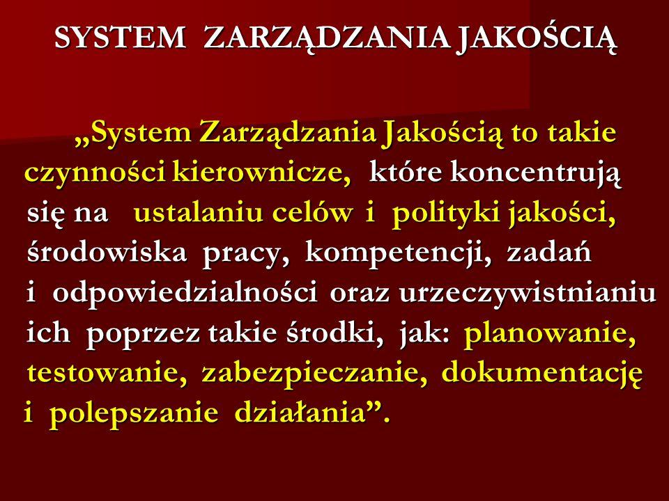 """SYSTEM ZARZĄDZANIA JAKOŚCIĄ """"System Zarządzania Jakością to takie """"System Zarządzania Jakością to takie czynności kierownicze, które koncentrują czynności kierownicze, które koncentrują się na ustalaniu celów i polityki jakości, się na ustalaniu celów i polityki jakości, środowiska pracy, kompetencji, zadań środowiska pracy, kompetencji, zadań i odpowiedzialności oraz urzeczywistnianiu i odpowiedzialności oraz urzeczywistnianiu ich poprzez takie środki, jak: planowanie, ich poprzez takie środki, jak: planowanie, testowanie, zabezpieczanie, dokumentację testowanie, zabezpieczanie, dokumentację i polepszanie działania ."""