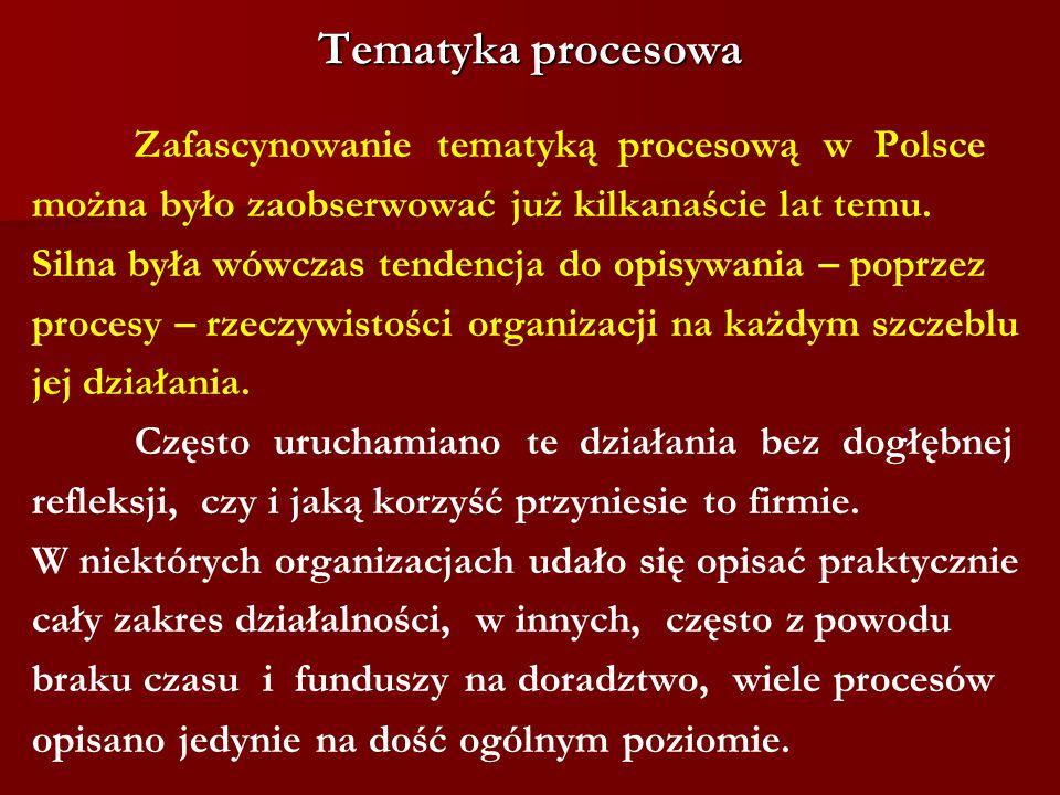 Tematyka procesowa Zafascynowanie tematyką procesową w Polsce można było zaobserwować już kilkanaście lat temu. Silna była wówczas tendencja do op