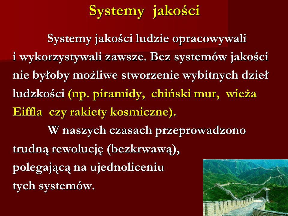 Systemy jakości Systemy jakości ludzie opracowywali Systemy jakości ludzie opracowywali i wykorzystywali zawsze.