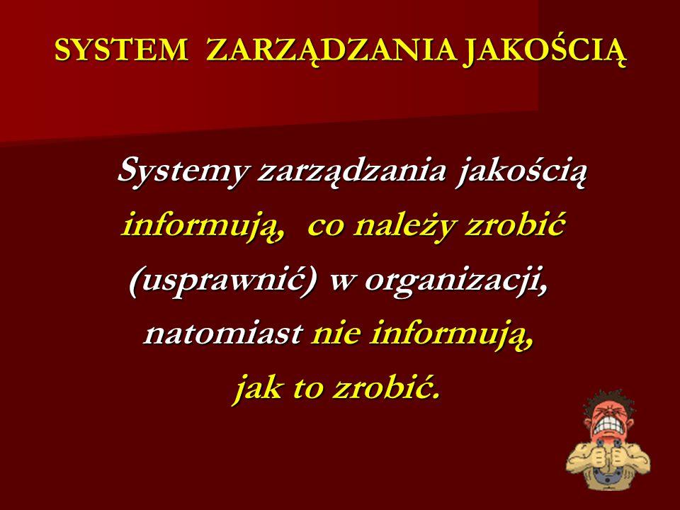 SYSTEM ZARZĄDZANIA JAKOŚCIĄ Systemy zarządzania jakością Systemy zarządzania jakością informują, co należy zrobić informują, co należy zrobić (usprawnić) w organizacji, natomiast nie informują, natomiast nie informują, jak to zrobić.