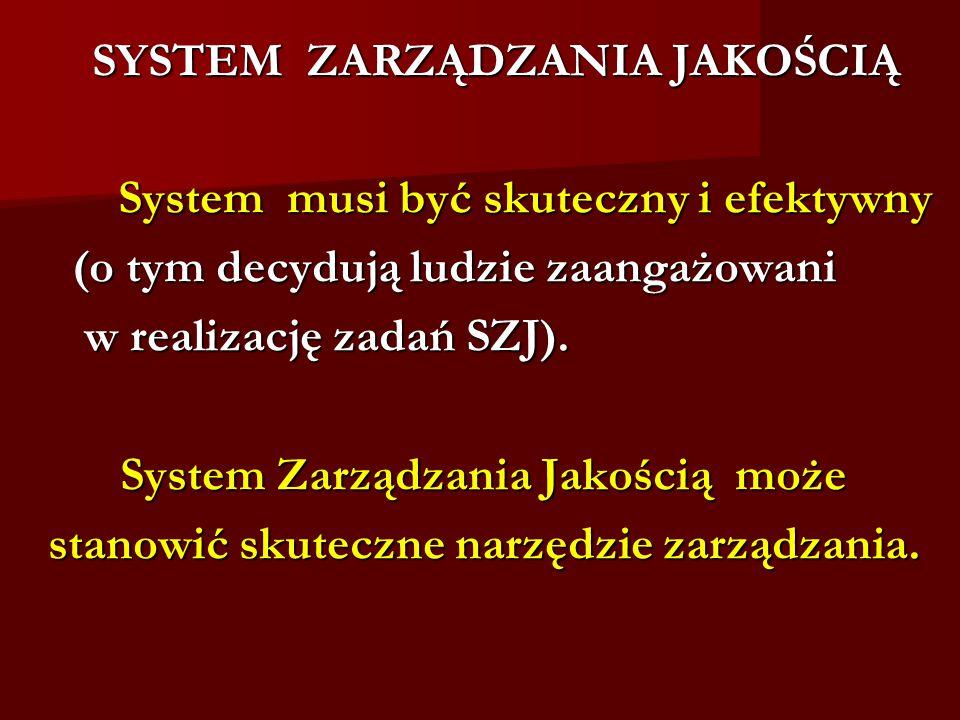 SYSTEM ZARZĄDZANIA JAKOŚCIĄ System musi być skuteczny i efektywny System musi być skuteczny i efektywny (o tym decydują ludzie zaangażowani w realizację zadań SZJ).
