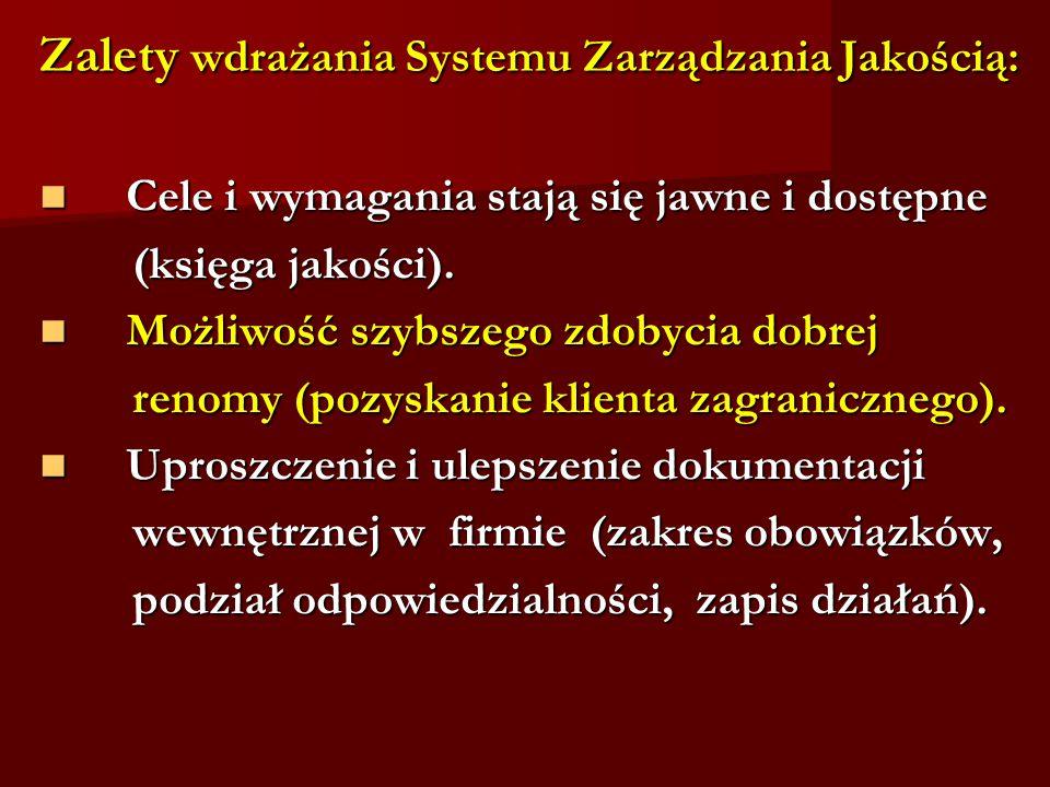 Zalety wdrażania Systemu Zarządzania Jakością: Cele i wymagania stają się jawne i dostępne Cele i wymagania stają się jawne i dostępne (księga jakości